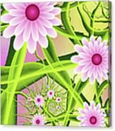 Fractal Fantasy Neon Flower Garden Canvas Print