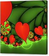 Fractal Hearts In The Discothec Canvas Print