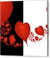 Fractal Red Hearts Canvas Print
