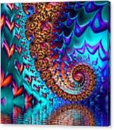 Fractal Sea Of Love With Hearts Canvas Print