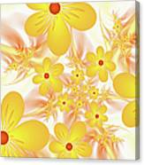 Fractal Yellow Flowers Canvas Print