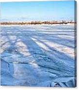 Fractured Ice On The River Canvas Print
