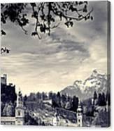 Framed View Of Salzburg From Kapuzinerberg Canvas Print