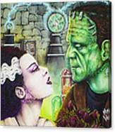 Frankenstein And The Bride Canvas Print