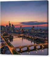 Frankfurt Skyline At Sunset Canvas Print