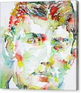 Franz Kafka Watercolor Portrait.2 Canvas Print