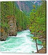 Fraser River Beyond Overlander Falls Along Yellowhead Highway-bc Canvas Print