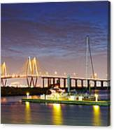 Fred Hartman Bridge From Bayland Marina - Houston Texas Canvas Print