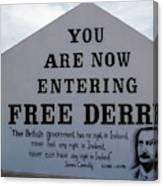 Free Derry Corner, Republican Political Canvas Print