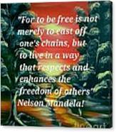 Freedom Quotes From Nelson Mandela Canvas Print