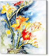 Freesia In A Pickle Jar Canvas Print