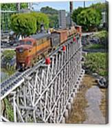 Freight Train Bridge Crossing Canvas Print