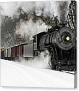 Freight Train With Steam Locomotive Canvas Print