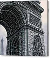 French - Arc De Triomphe And Eiffel Tower II Canvas Print