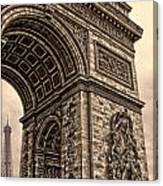 French - Arc De Triomphe And Eiffel Tower IIi Canvas Print