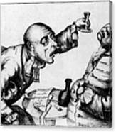 French 18th Century Engraving Of Two Alcoholics Canvas Print