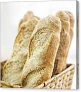 French Baguette In Basket Canvas Print