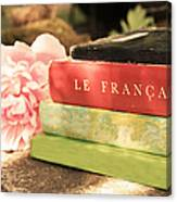 French Books And Peony Canvas Print