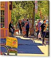 French Bread On Laurier Street Montreal Cafe Scene Sunny Corner With Vente De Garage Sign Canvas Print