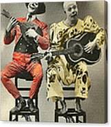 French Clown Musicians Vintage Art Reproduction Tint Canvas Print