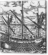 French Galley Operating In The Ports Of The Levant Since Louis Xi  Canvas Print