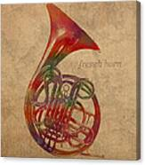 French Horn Brass Instrument Watercolor Portrait On Worn Canvas Canvas Print