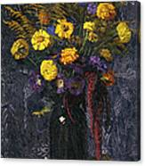 French Marigold Purple Daisies And Golden Sheaves Canvas Print