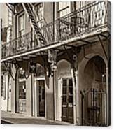 French Quarter Art And Artistry Sepia Canvas Print