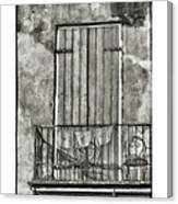 French Quarter Balcony In Black And White Canvas Print