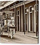 French Quarter Carriage Ride Sepia Canvas Print