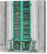 French Quarter Window In Green Canvas Print