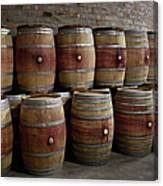 French Wine Barrels Stacked At Winery Canvas Print