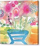 Fresh Picked Flowers In A Blue Vase- Contemporary Watercolor Painting Canvas Print