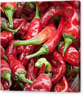 Fresh Red Chili Peppers At Local Street Market In Dunhuang China Canvas Print