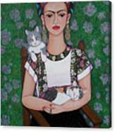 Frida Cat Lover  Canvas Print