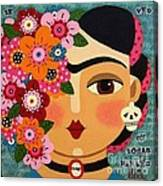 Frida Kahlo With Flowers And Skull Canvas Print