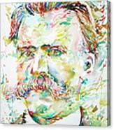 Friedrich Nietzsche Watercolor Portrait Canvas Print