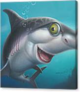 friendly Shark Cartoony cartoon under sea ocean underwater scene art print blue grey  Canvas Print