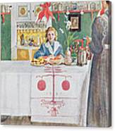 Friends From The Town - Dining Room Canvas Print