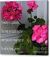 Friendship Is A Golden Tie With Geraniums Canvas Print