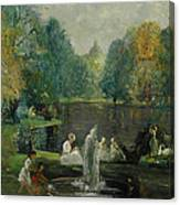 Frog Pond In Boston Public Gardens Canvas Print