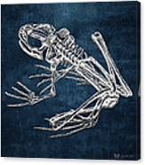 Frog Skeleton In Silver On Blue  Canvas Print