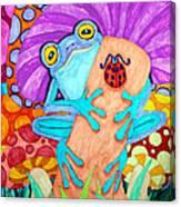 Frog Under A Mushroom Canvas Print