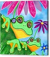 Froggies And Flowers Canvas Print
