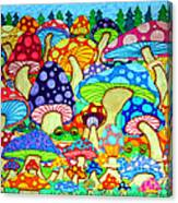 Frogs And Magic Mushrooms Canvas Print