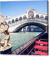From A Gondola Near Rialto Bridge Canvas Print