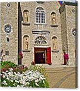 Front Of Sainte-famille Church On Ile D'orleans-qc Canvas Print