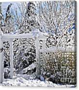 Front Yard Of A House In Winter Canvas Print