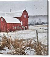 Frosted Hay Bales Canvas Print