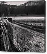 frosty fence in rural Indiana Canvas Print
